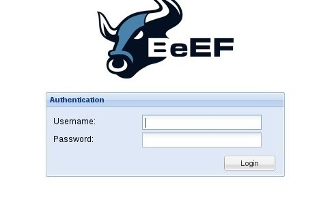 BeEF GUI login screen