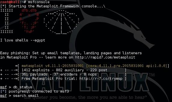 Metasploit search mail