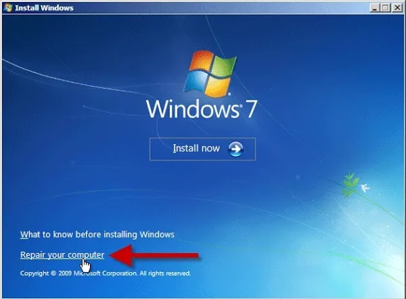 Windows 7 Repair your computer option