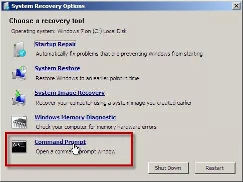 Windows 7 select cmd