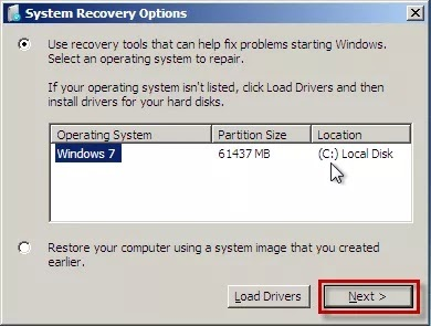Windows 7 select recovery option